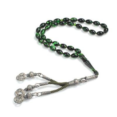 1000 Ayar Gümüş Püskül ve Yeşil Renk Sıkma Kehribar Taşlı Tesbih