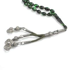 1000 Ayar Gümüş Püskül ve Yeşil Renk Sıkma Kehribar Taşlı Tesbih - Thumbnail