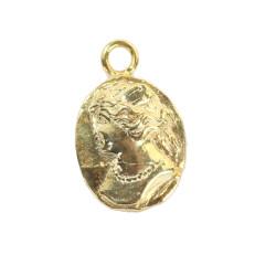 14 Ayar Altın Bayan Figürlü Madalyon Kolye Ucu - Thumbnail
