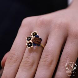 14 Ayar Altın Çiçekli Kelebek Yüzük - Thumbnail