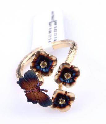 14 Ayar Altın Çiçekli Kelebek Yüzük