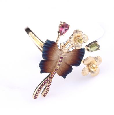 14 Ayar Altın Çiçekli Lades Kelebek Modeli Yüzük