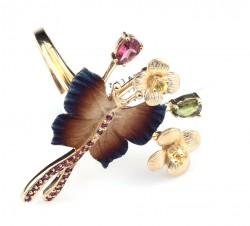 14 Ayar Altın Çiçekli Lades Kelebek Modeli Yüzük - Thumbnail