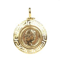 14 Ayar Altın Grekli Sezar Figürlü Madalyon Kolye Ucu - Thumbnail