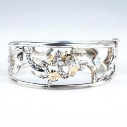 14 Ayar Altın & Gümüş Çiçekli Borazan Bilezik - Thumbnail