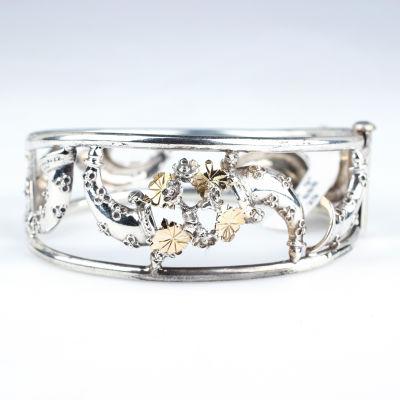 14 Ayar Altın & Gümüş Çiçekli Borazan Bilezik