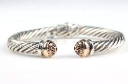 14 Ayar Altın & Gümüş Kubbe Model Burma Bilezik - Thumbnail