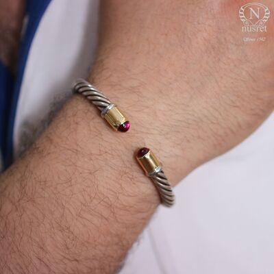14 Ayar Altın & Gümüş Yakut Taşlı Burma Bilezik