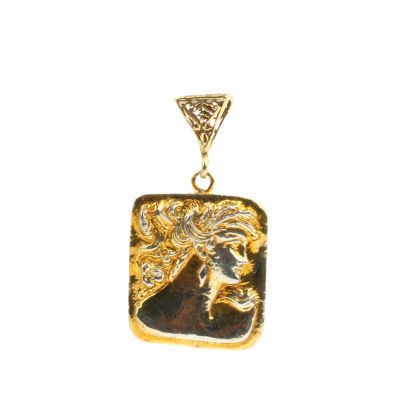 14 Ayar Altın Kadın Motifli Madalyon Kolye Ucu