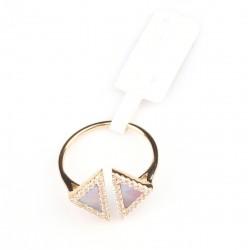 14 Ayar Altın Opal Taşlı Üçgen Yüzük - Thumbnail