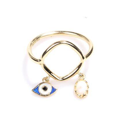 14 Ayar Altın Opal ve Göz Modeli Trend Yüzük