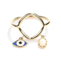 14 Ayar Altın Opal ve Göz Modeli Trend Yüzük - Thumbnail