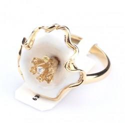 14 Ayar Altın Taşlı Çiçek Yüzük - Thumbnail