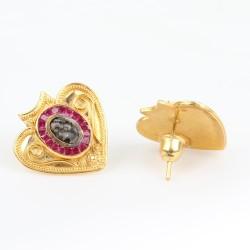 22 Ayar Altın Antik Kalp Şeklinde Elizabeth Küpe - Thumbnail