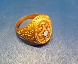 22 Ayar Altın Antik Tasarım Erkek Yüzüğü - Thumbnail