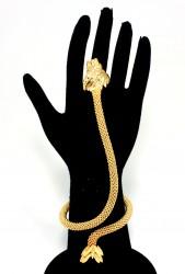 22 Ayar Altın Aslan Başı Modeli Şahmeran Bileklik - Thumbnail