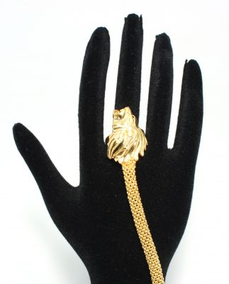 22 Ayar Altın Aslan Başı Modeli Şahmeran Bileklik