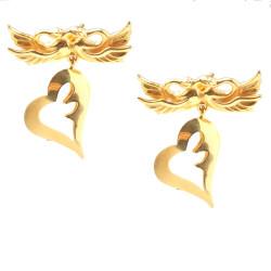 22 Ayar Altın Kuğulu Kalp Küpe - Thumbnail