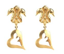 22 Ayar Altın Kuğulu Kalpli Küpe - Thumbnail