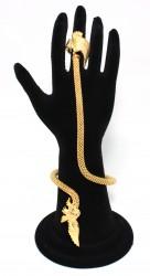 22 Ayar Altın Tek Kanatlı Kartal Modeli Şahmeran Bileklik - Thumbnail
