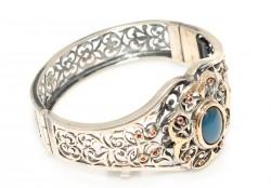 22 Ayar Altın ve Gümüş Taşlı Ajur Desenli Bilezik - Thumbnail