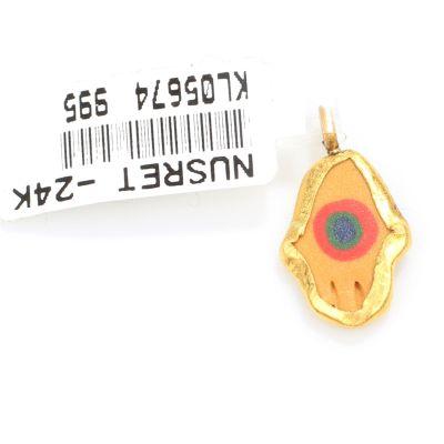 24 Ayar Altın Minik El Göz Boncuğu Kolye Ucu, Sarı