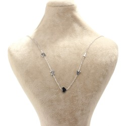 925 Ayar Gümüş 4 Harf ve Kalp Kolye - Thumbnail