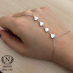 925 Ayar Gümüş 4 Kalpli Aşk Şahmeran Bileklik - Thumbnail