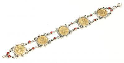 925 Ayar Gümüş ve Bronz Karışımı Paralı Antik Bizans Bileklik