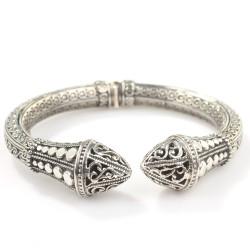 925 Ayar Gümüş Antik Bizans Tasarım Bilezik - Thumbnail