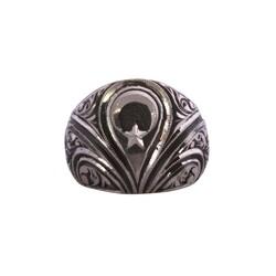 925 Ayar Gümüş Ay Yıldız ve Zihgir Kalemkar Erkek Yüzük - Thumbnail