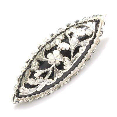 925 Ayar Gümüş Badem Model Oltu Taşı Broş