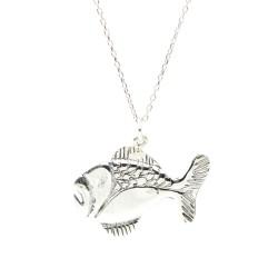 925 Ayar Gümüş Balık Charm Kolye - Thumbnail
