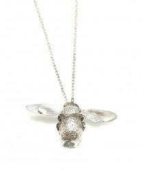 925 Ayar Gümüş Bal Arı Kolye - Thumbnail