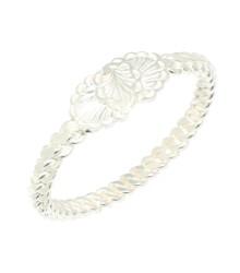 925 Ayar Gümüş Beyaz Yaprak Kaşlı Dört tel Erzincan Burma Bilezik - Thumbnail