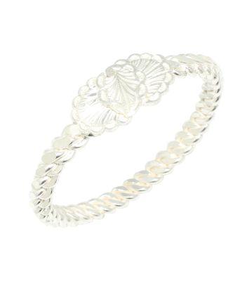 925 Ayar Gümüş Beyaz Yaprak Kaşlı Dört tel Erzincan Burma Bilezik
