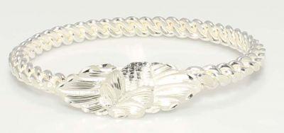 925 Ayar Gümüş Beyaz Yaprak Kaşlı Üçlü Burma Bilezik