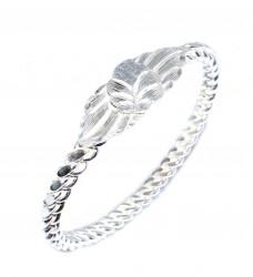 925 Ayar Gümüş Beyaz Yaprak Kaşlı Üçlü Burma Bilezik - Thumbnail