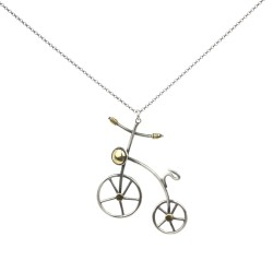 925 Ayar Gümüş Bisiklet Kolyesi - Thumbnail
