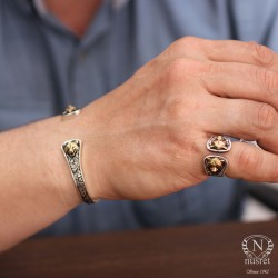 925 Ayar Gümüş Bozkurt Başı Sembolü Erkek Bilekliği - Thumbnail