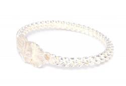 925 Ayar Gümüş Beyaz Yaprak Kaş Burma Bilezik - Thumbnail