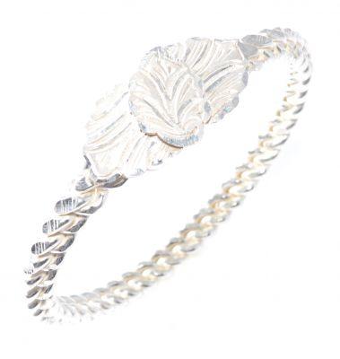 925 Ayar Gümüş Beyaz Yaprak Kaş Burma Bilezik