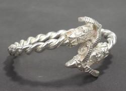 925 Ayar Gümüş Burma Kollu Koç Başı Bilezik - Thumbnail