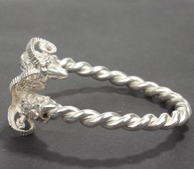 925 Ayar Gümüş Burma Kollu Koç Başı Bilezik