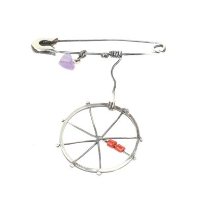 925 Ayar Gümüş Çengelli İğneli Tekerlek Broş