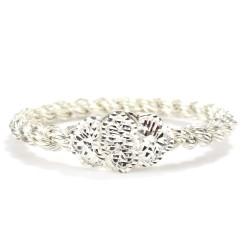925 Ayar Gümüş Çiçek Kaşlı Çok Telli Burma Bilezik - Thumbnail