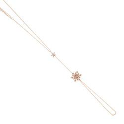 925 Ayar Gümüş Çiçekli Kar Tanesi Şahmeran, Beyaz Taş - Thumbnail