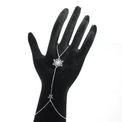 925 Ayar Gümüş Çiçekli Kar Tanesi Şahmeran, Siyah Taş - Thumbnail