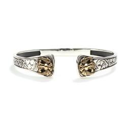 925 Ayar Gümüş Çift Başlı Kartal Modeli Erkek Bileklik - Thumbnail