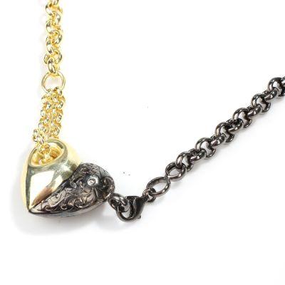 925 Ayar Gümüş Çift Renkli Doç Zincirli Kalp Kolye, Çift Zincir